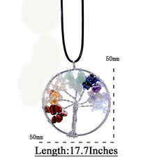 7 Chakra Healing Natural Crystal Quartz Tree Of Life Pendant Leather Necklace