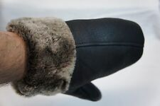 REAL GENUINE SHEEPSKIN SHEARLING LEATHER MITTENS UNISEX Fur Winter 3 Colors M-XL