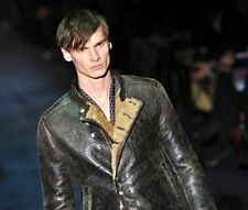 $6975 GUCCI Leather Shearling Lamb Fur Jacket 46 Mens Motorcycle Coat Gift NWT