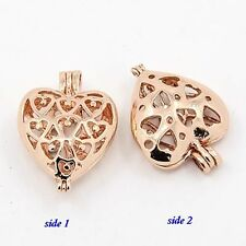 Rose Gold Open Filigree Heart 25mm Hinged Bead Cage Pendant or Earring Drop 1pc