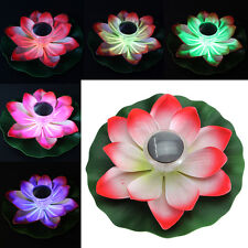 Romantic Solar Power LED Floating Night Light Lotus Flower Garden Pool Decor