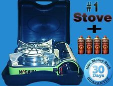 Portable Magnum Stove with case for camping and charcoal stove + 4 Butane Cans