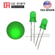 100pcs 5mm Diffused Green-Green Round Top LED F5 DIP Light Emitting Diodes
