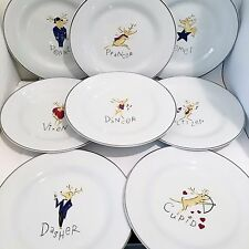 Set 8 Pottery Barn Reindeer Dinner Plates Christmas Holiday China Used Condition