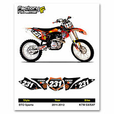 2011-2012 KTM SX-SXF Dirt Bike Graphics Motocross Custom Number Plates