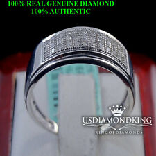 MEN'S REAL GENUINE DIAMOND 14K GOLD FINISH WEDDING ENGAGEMENT RING BAND SILVER