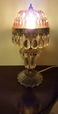 Vtg  PINK  SMALL GLASS BOUDOIR LAMP, PRISMS ,buy it now don't wait til it  ends