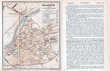 Valladolid 1908 peq. mapa ciudad orig. + guía fr. (3 p.) Catedral Tudela Leones