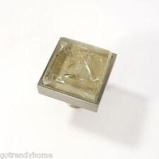 Beige Tan Crackle Crystal Glass Cabinet Brush Nickel Knob Drawer Square Handle