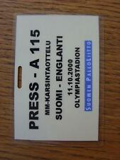 11/10/2000 Ticket: England v Finland [At Olympiastadion] .  Any faults with this