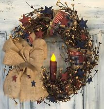 "12""Primitive Country Americana Grapevine Wreath W/homespun & Pip Berries W/stars"