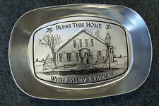 Bless This Home with Family & Friends Aluminum Bread Serving Tray Bowl Plate