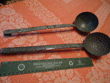 Lot of 2 Antique Gray White Graniteware Enamelware Soup Ladle & Strainer Reduced