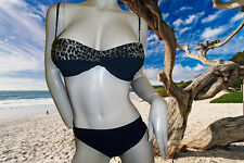 NEW GOTTEX Black Leopard PRINT Bandeau BATHING SUIT SWIMSUIT BIKINI SET size - 8