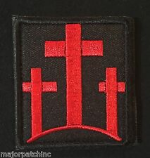 3 CROSSES CHRISTIAN CATHOLIC USA INFIDEL ARMY BLACK OPS RED VELCRO® BRAND  PATCH