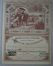 1899 Ethiopean Railways share certificate with dividend coupons attached