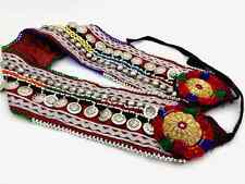 "32"" Wide Tribal Fusion ATS Belly Dance Belt Dark Red Satin & Turkoman Buttons"