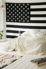 Hippie Indian Tapestry Wall Hanging Large Black and White American Flag Bedding