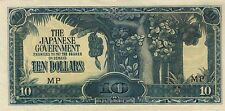 $10 DOLLARS MALAYA JAPANESE INVASION MONEY CURRENCY UNC BANKNOTE BILL JIM WWII