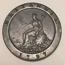 "Raw 1797 Great Britain 2 Pence Copper King George III Brittania ""CARTWHEEL"" Coin"