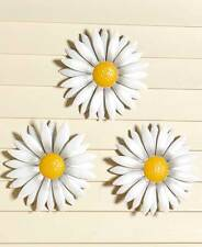 Three Daisy Flowers Hanging Wall Decor White Gerber Blossoms 3D Garden Decor