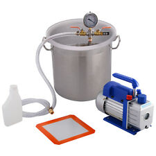 New 5 Gallon Vacuum Chamber and 3 CFM Single Stage Pump Degassing Silicone Kit