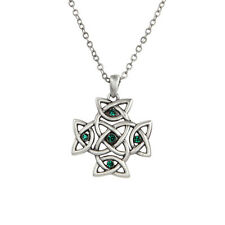 Unique Celtic Knot Cross with Green Gems Necklace Pendant Elegant Jewelry