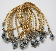 10 X Gold Silver Hamsa Bracelet Evil Eye Friendship Kabbalah Hand Fatima Lot