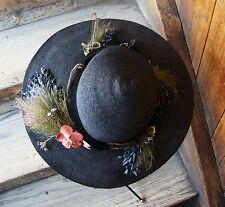 Antique Black Straw Authentic Edwardan 1920's Downton Ladies Hat