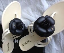 Authentic Chanel Camelia Thong Sandals Iridescent Black Flower and Ivory Sole