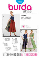 Burda 7870 Sewing Pattern Dirndl German Costume Dress Aprons Tops Lg Sizes 12-30