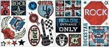 25 New BOYS ROCK AND ROLL WALL DECALS Signs Guitars Stickers Music Decorations