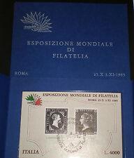ITALIA Repubblica 1985 foglietto Esposizione Filatelia usato annullo speciale