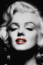 Marilyn Monroe Black White Red Lips Print Silk POSTER 13x19