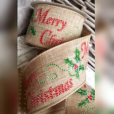 Wired Hessian Merry Christmas & Holly Ribbon Gift Bow Cake Tree Wreath Red Xmas