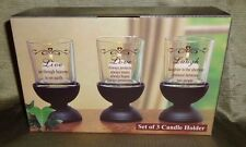 Set of 3 Votive Candle Holder Live Love Laugh
