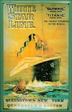 Titanic White Star Line yellow Metal Tin Plate Sign Tin Sign 20 x 30 cm
