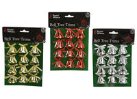 Pack of 12 Christmas Bell Tree Trims / Christmas Decorations Red Silver Golden