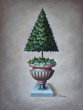 """Triangle Tree Original Hand Painted 12""""x16"""" Oil Painting Floral Art"""