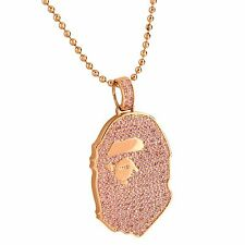 Rose Gold Tone Ape Big Foot Pendant Iced Out Cubic Zirconia Free 24 Inch Chain