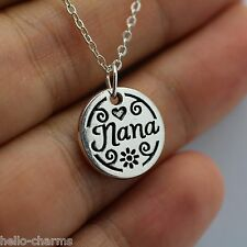 Nana Charm Necklace Jewelry Grandma Grandmother Silver Chain Mothers Day Gift