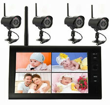"Wireless 4CH Digital Quad DVR 7"" TFT-LCD Monitor Home System+4 Camera Outdoor V4"