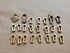 OLD VINTAGE BRASS KEY ESCUTCHEON INSERTS COLLECTION MIXTURE