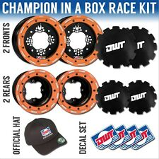 "DWT Orange Champion in a Box 10"" Front 9"" Rear Rims Beadlock Wheels KTM 525 450"