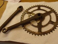 "vintage bicycle chainset, long cranks 8"", BSA, RUDGE, HUMBER,hercules,triumph"
