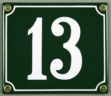 """Grüne Emaille Hausnummer """"13"""" 14x12 cm Hausnummernschild sofort lieferbar Schild"""