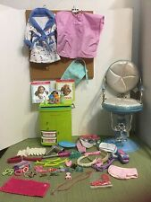 """American Girl 18"""" Doll HUGE LOT Salon Center Caddy Accessories Robe Chair & More"""