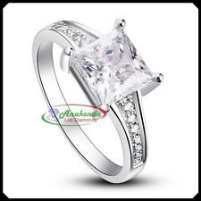 Princess D FL Lab Diamond Solid 10K White Gold Engagement Silver Solitaire Ring