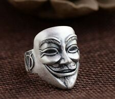 Silver Ring V for Vendetta Anonymous Film Guy Fawkes Face Ring Adjustable