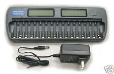 DC1216 Fast LCD Battery Charger AA AAA NiMH NiCd 16 bay Refresh 16 Bank 16 Slot